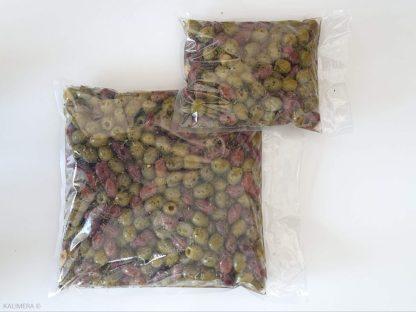 """Натуральні оливки Асорті 2х без кісточки у маринаді """"Корінф"""". В оливковій олії, винному оцті, розсолі та грецькі спеції , с.в 1.55кг калибр Jumbo 181-200"""