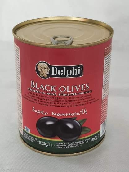 DELPHI Черные маслины Супер Маммут 91/100 с косточками Л.О.850ml 51007