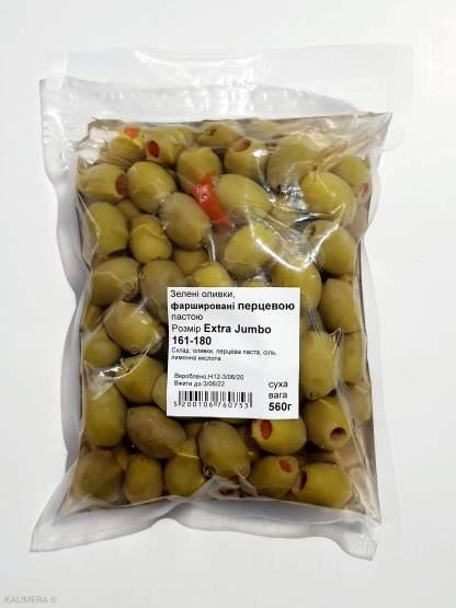 Оливки, фаршировані перцевою пастою 3кг Extra Jumbo 161-180 в морській солі ПЕТ-пакетик 70525