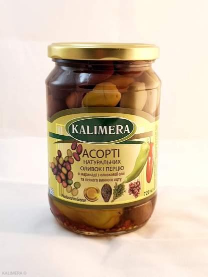 Асорті натуральних оливок та перчиків у маринаді з оливковою олією та винним оцтом 720мл, 420г.св