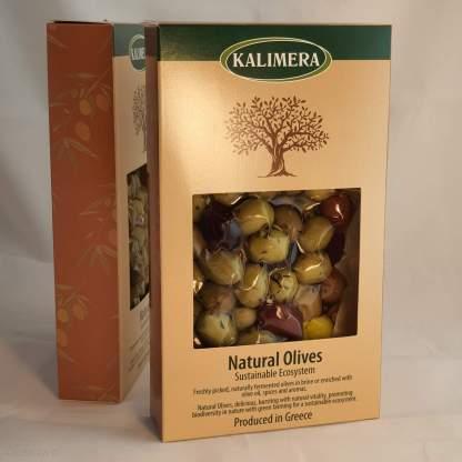 """Мікс оливок, маслин та перчиків у маринаді """"Корінф"""" в оливковій олії, винному оцті, розсолі та грецькі спеції 280г в.н. , 250г в.суха, Вакуумний пакет у картонній коробці"""
