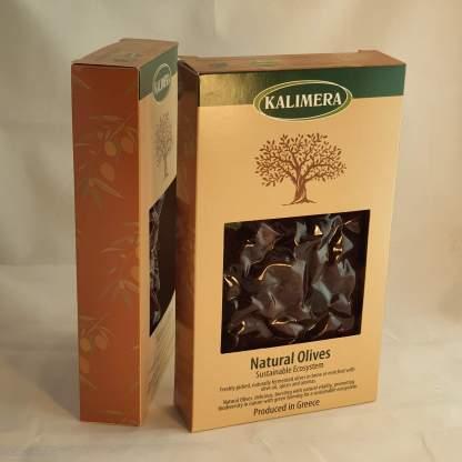 Маслини Каламатас Вялені 200г в.суха, калібр Jumbo, Вакуумний пакет у картонній коробці 70491