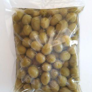 Зелені оливки з кісточкою в морській солі ПЕТ-пакетик 560г калибр Superior 261-290 70321