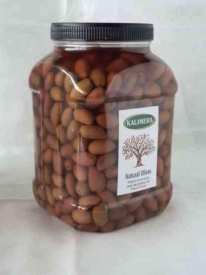 Каламатас молоді оливки з кісточкою в морській солі 3л ПЭТ-банка 1.9кг с.в. калибр Bullets 351-380
