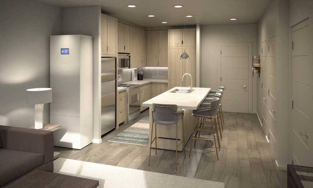 kitchen inside a solar apartment