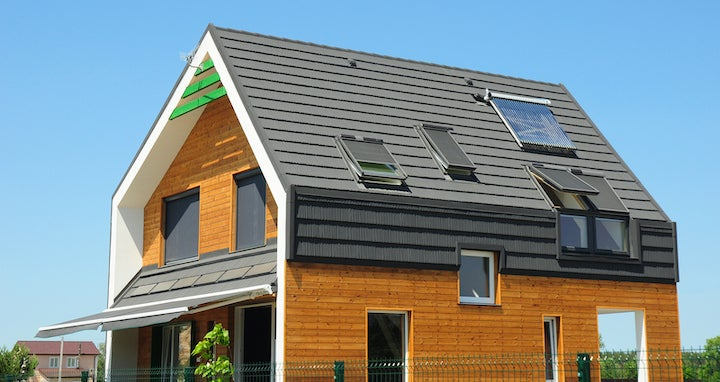 Home exterior with passive solar heating