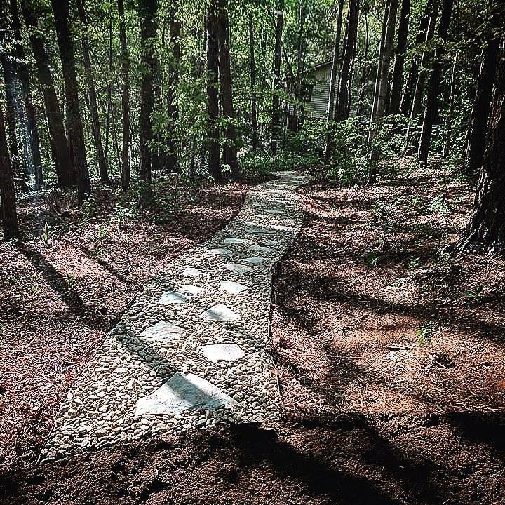 beautiful stone path through wooded yard