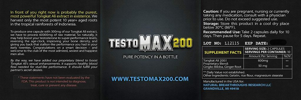 Testomax200 Testosterone Booster ingredients