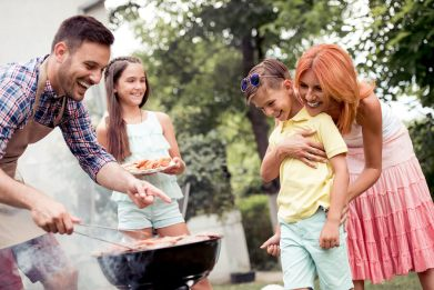 family having a BBQ