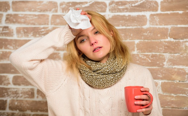 Woman Feeling sick with cold or flu