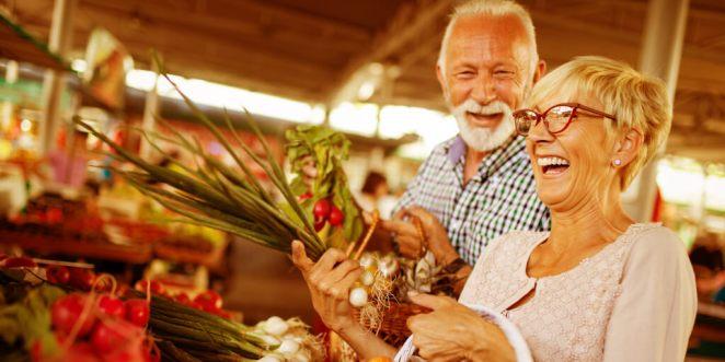 Healthy living seniors vegetables shopping