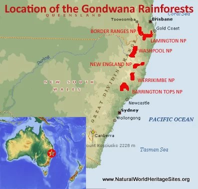 Australia Location Map.Gondwana Rainforests Of Australia Natural World Heritage Sites