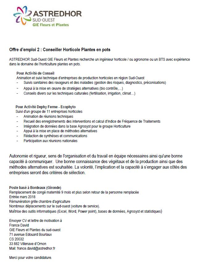 Beautiful Conseiller Horticole With Chambre D Agriculture Offre D Emploi