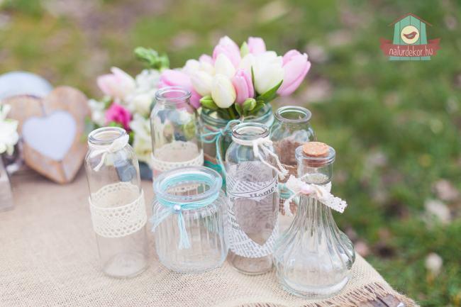 Vintage üveg asztaldísz bérlés esküvőre