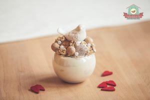 Romantikus, kerámia madárkás asztaldísz