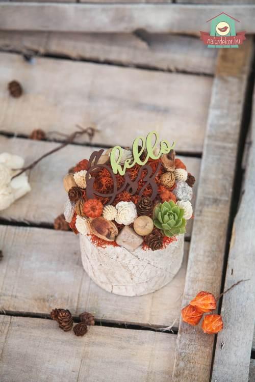 Falevél textúrás kaspójú őszi asztaldísz