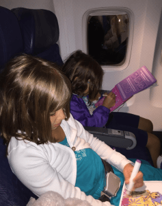 Our first airplane ride. We packed lots of activities to do!
