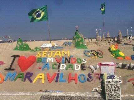 Sand art on Copacabana beach