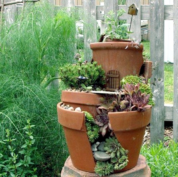 Reuse the broken pots in garden