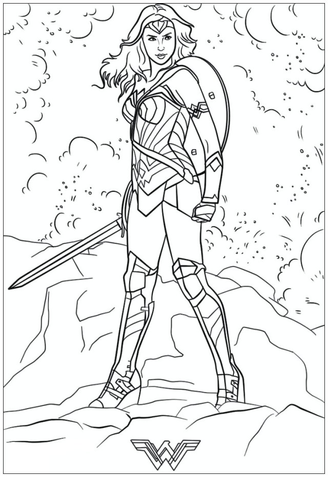 Printable Awesome Wonder Woman coloring page for both aldults and