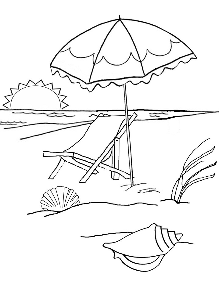 Printable Sunset On The Beach Coloring Page For Both Aldults And Kids
