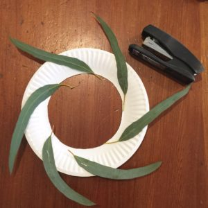 ANZAC wreath stapling leaves