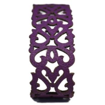 Bracelet cuir mauve motif baroque