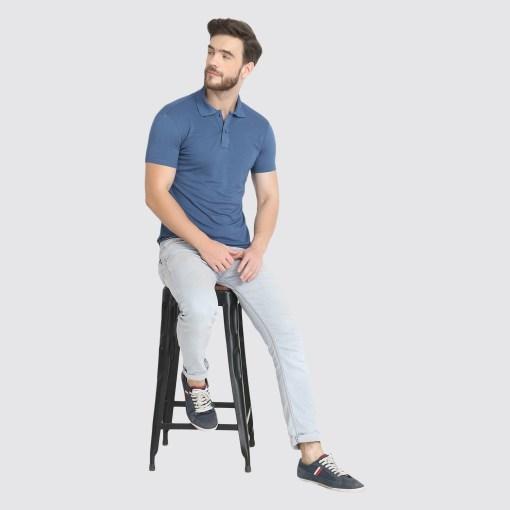 Naturefab Mens Sustainable Bamboo Fabric Polo Tshirt Blue Grey 1