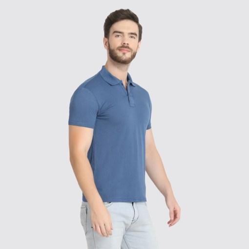 Naturefab Mens Sustainable Bamboo Fabric Polo Tshirt Blue Grey 6