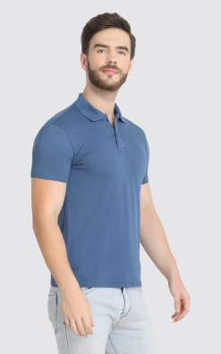 Naturefab Mens Sustainable Bamboo Fabric Polo Tshirt Blue Grey 6