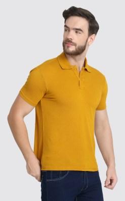 Naturefab Mens Sustainable Bamboo Fibre Polo Tshirt Mustard Grey 3