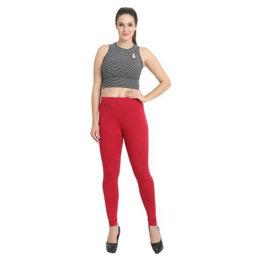 Naturefab Womens Sustainable Bamboo Fashion Leggings Red Maroon 6