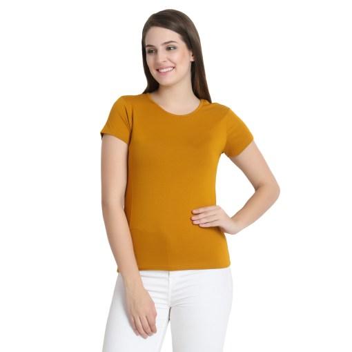 Naturefab Womens Sustainable Bamboo Fashion T Shirt Mustard 4