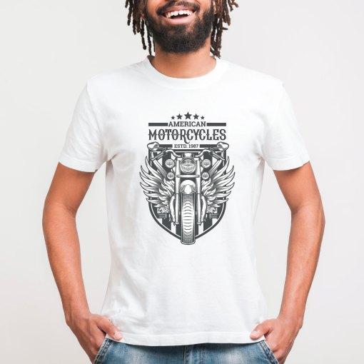 Mens Bamboo printed white tshirt American Motorcycles