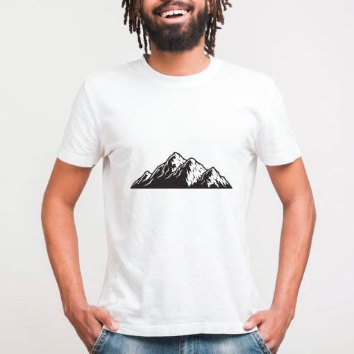 Mens Bamboo printed white tshirt mountains