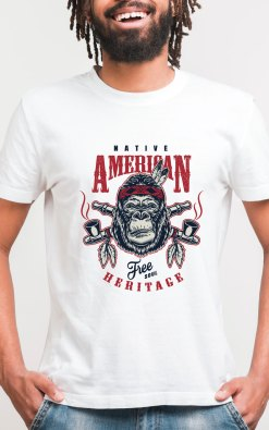 Mens Bamboo printed white tshirt native american