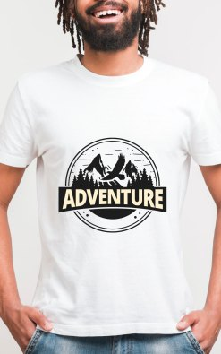 Mens Bamboo printed white tshirt neurofunk soldier adventure tshirt