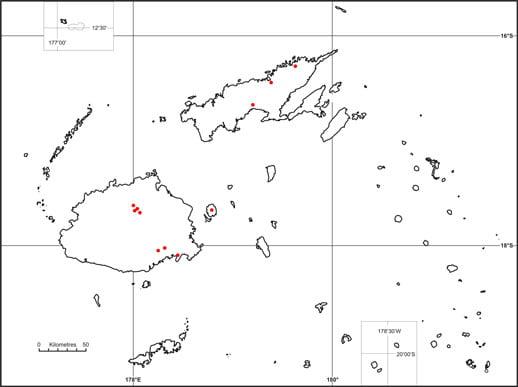 Fiji tree frog map