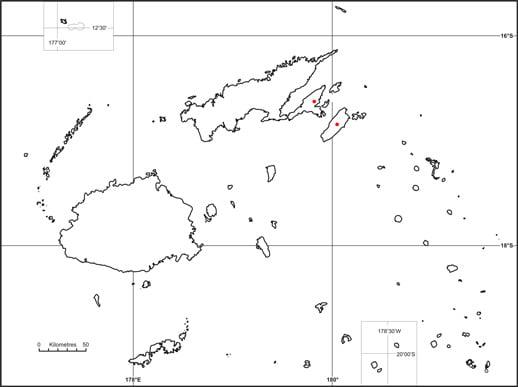 Silktail (Lamprolia victoriae) map