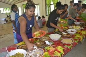 Hearty meal served by Culanuku village women after all their hard work