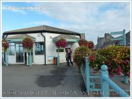 View of the cafe on Mumbles Pier, near Swansea, South Wales.