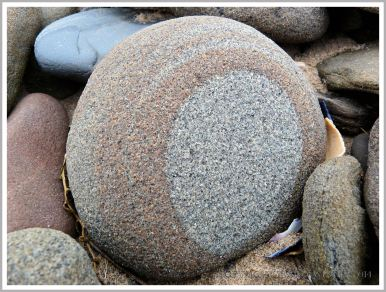Pebble with a natural pattern photographed where it was found on the beach