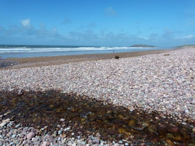 Wide pebble bank created by storms