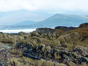 View looking northeast over Smerwick Harbour with Devonian rock outcrop on beach in the foreground