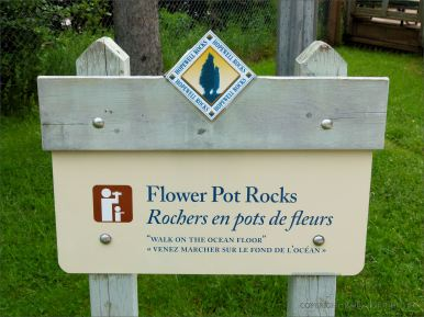 Viewpoint sign for the Flower Pot Rocks at Hopewell Rocks in New Brunswick, Canada.