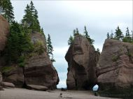 """Sea-stacks known as """"flower pots"""" at Hopewell Rocks in New Brunswick"""