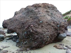 Large Devonian conglomerate boulder on the shore at Fermoyle