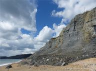View of cliffs and rock fall on the eastern half of Charmouth Beach in Dorset