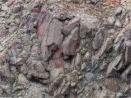 Detail of North Mountain Basalt of Jurassic age at Cap d'Or in Nova Scotia, Canada.
