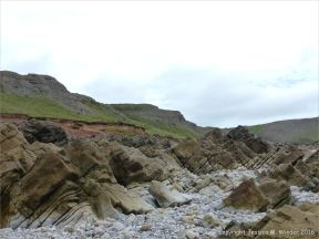 Limestone outcrops on the Worms head Causeway, Gower, South Wales.